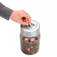 Digital piggy bank with coin counter and LCD display