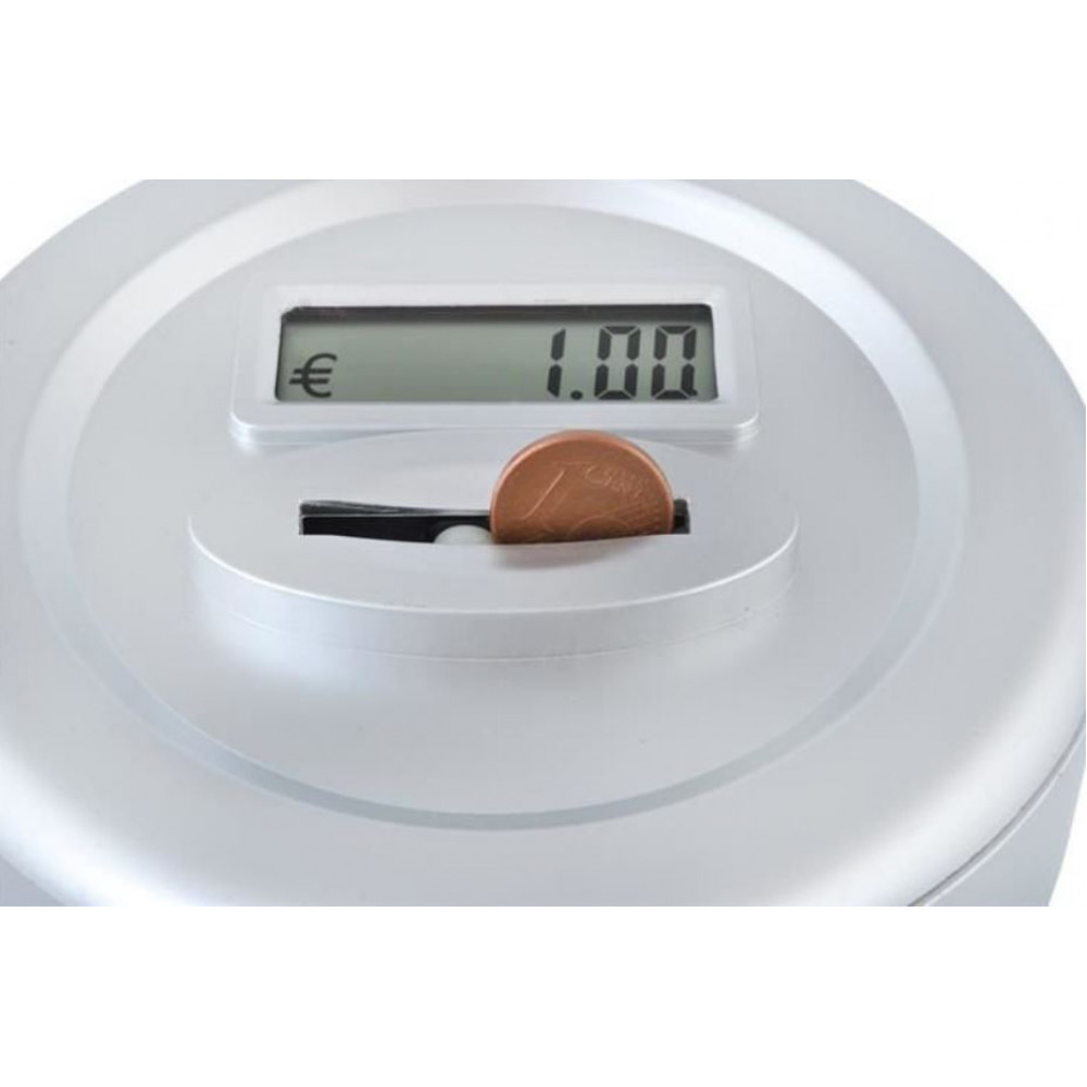 Interactive digital piggy bank - coin jar with coin counter and LCD display