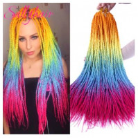 Zizi's stylish extensible kanekalon braids with rainbow ombre color