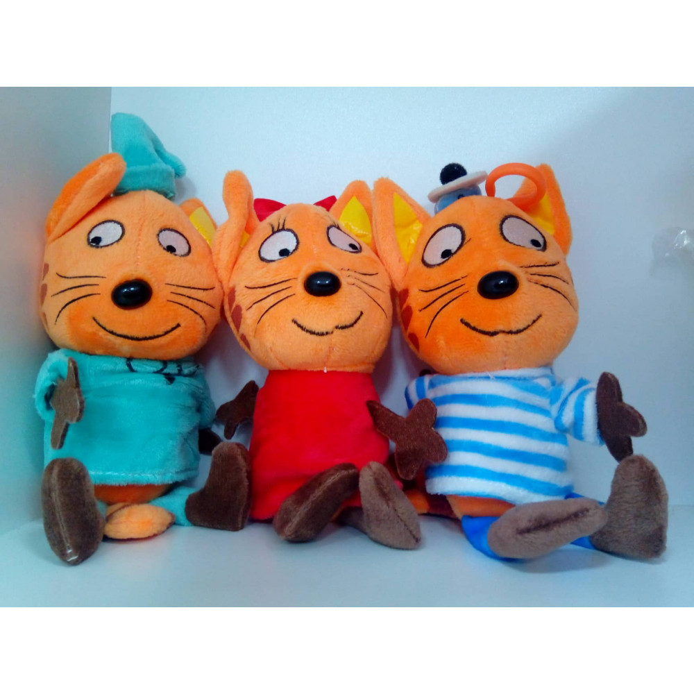 """KARAMELKA, KORZHIK AND COMPOTE THE CAT SOFT TOY FROM """"3 CATS"""" CARTOON"""