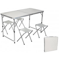 Camping set - portable folding compact table and 4 chairs for a picnic, summer cottage, hiking, tourism