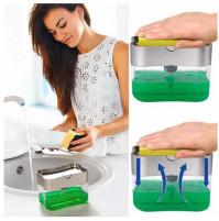 Ergonomic kitchen organizer - sponge holder and detergent dispenser