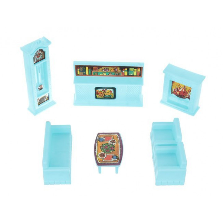 Two-storey doll villa, 6 room house for toys, dolls, with figures, furniture, cars, accessories