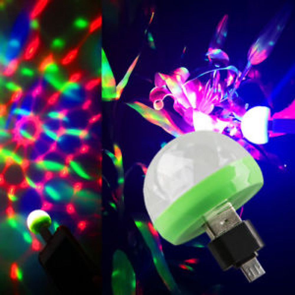 Mini LED disco ball for a phone or other device with USB / Micro USB. Portable disco
