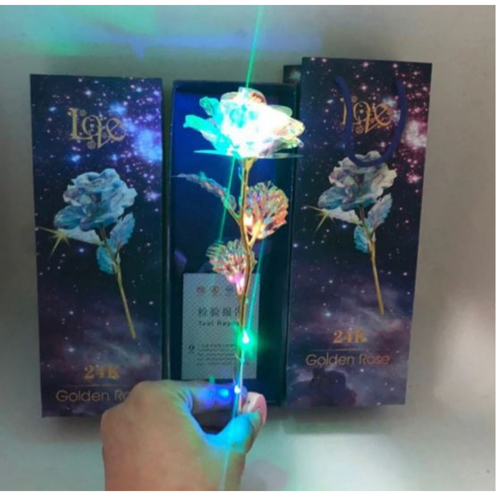 Luminous LED golden rose in a gift box and with a LOVE stand