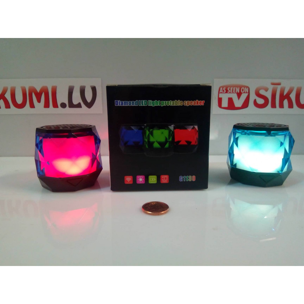 Mini Bluetooth Speaker,6 Colors Light Changing Diamond LED Light Wireless Portable Speaker Built-in Mic,HD Sound and Hands