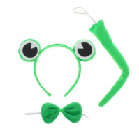 Frog set: rim with eyes, ponytail, bow - set for parties, children's parties