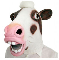 Latex party mask, cow, squirrel, monkey, cock, panda, donkey, reptiloid