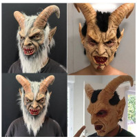 Carnival scary latex mask of the Young Devil with horns or Old Lucifer - for parties, Halloween, holidays, practical jokes