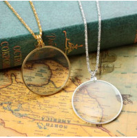 Unisex pendant with 5x magnifying glass