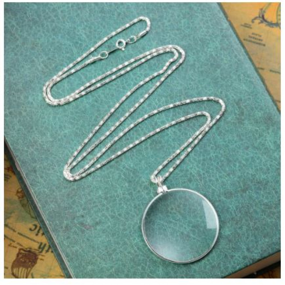 Unisex pendant with 5x magnifying glass, pocket magnifier