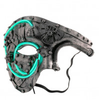Classic steampunk half mask with diode neon LED insert and 3D elements