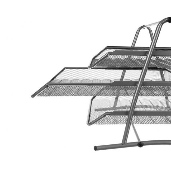 Horizontal desktop 3-tier shelf for sheets of paper - metal organizer for A4 documents