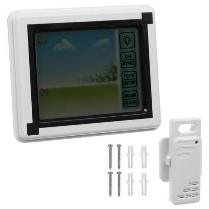 Portable wireless weather station, home hydrometer with color touch display