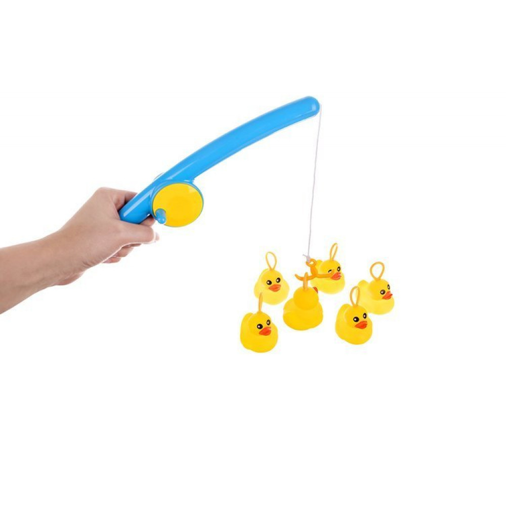 Set of rubber ducks 6 pcs with a net and a rod for fishing in the bath