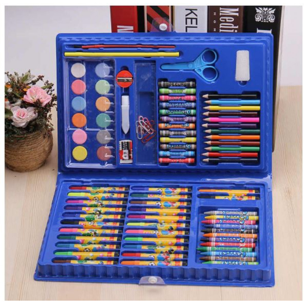 Gift for a young artist, boy or girl - a suitcase with a set of watercolors, pencils, felt-tip pens, crayons of 86 items
