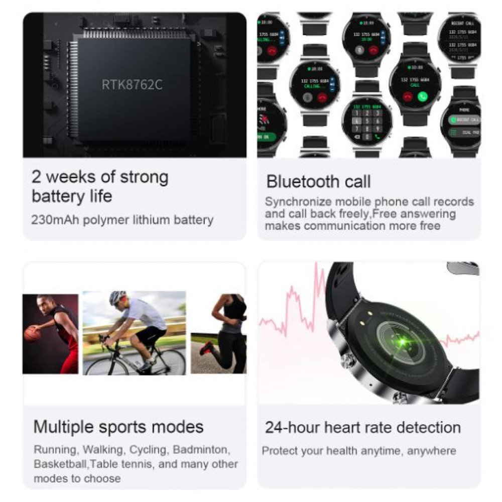 Men's waterproof Bluetooth smartwatch S-600 with replaceable straps, touch screen, heart rate monitor, oximeter and pressure meter