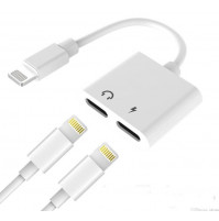 IPhone lightning splitter adapter for charging and dual lightning audio & charge headphones