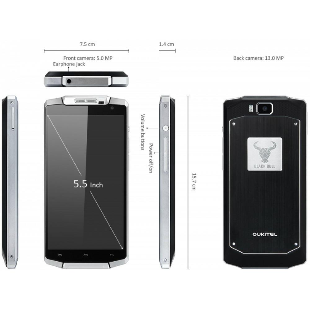 Waterproof IP68 shockproof smartphone with 10000mAh battery Oukitel K1000