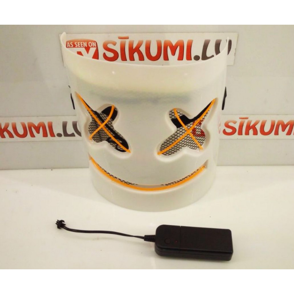 Glowing LED El Wire Square Face mask for parties, carnivals