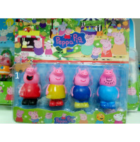 "Set of collection figures from the cartoon ""Peppa Pig"", Peppa Pig, Daddy Pig, George, Mommy Pig, Danny Puppy, Candy's Pussy, Rebecca Rabbit"