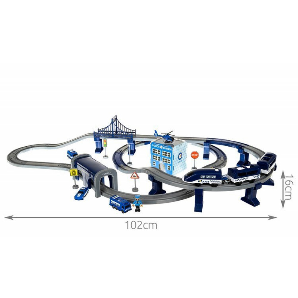 Interactive toy Police racing track with train, helicopter, cars, 92 elements