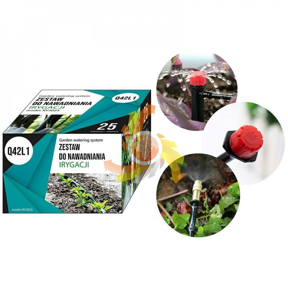 Drip system with 10 nozzles and 15 drippers - for watering the garden, plants, lawn, greenhouse, trees, 25 meters