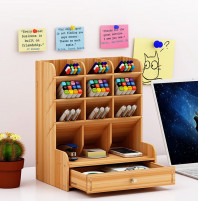 Eco-friendly stand organizer made of bamboo for markers, cosmetics and other little things - DIY