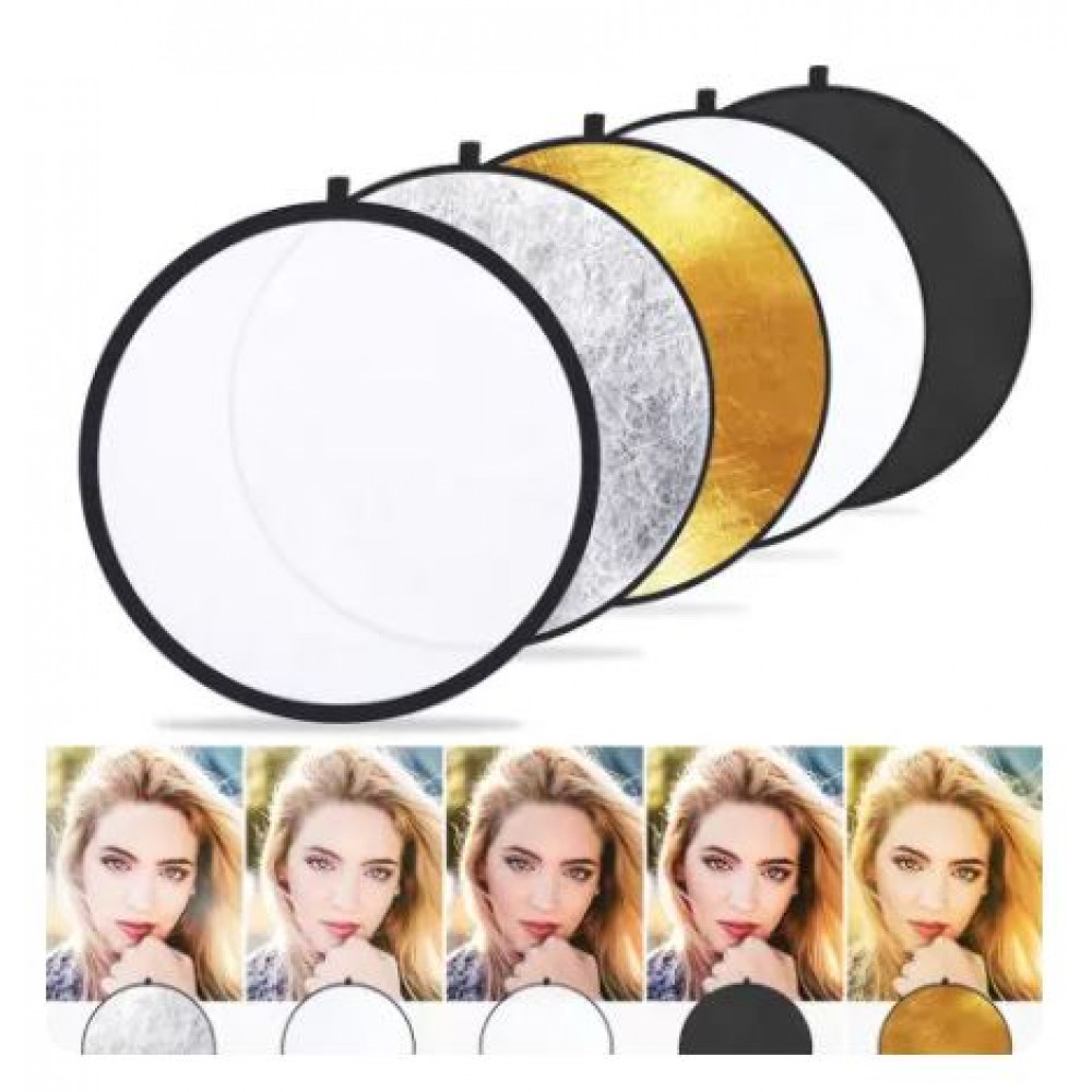 A set of photo reflectors, reflectors, light diffusers to improve the lighting of photography - gold, white, black, silver, neutral, diameter 1 m