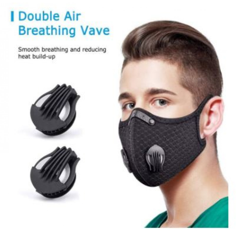 Reusable Dust Mask with Double Breathing Valve Activated Carbon PM2.5 Filter Anti-pollution Anti-smog Respirator