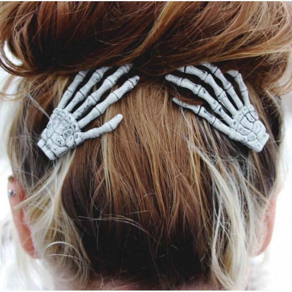 Color Barrette Hair Clip - Bony Skeleton Hand, Party, Halloween, Bachelorette, Holidays