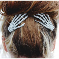 Colored hair clip Skeleton Hand