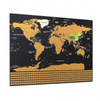 Scratch map of the world in a gift tube, travel, and mark countries