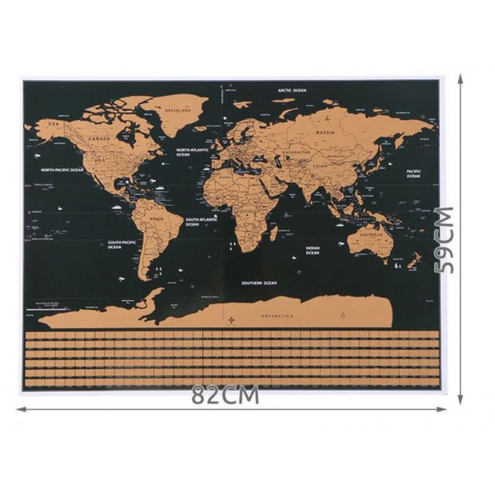 Scratch World Map Wall Mounted Travel Map 82 x 59 cm in a gift tube, mark your travels