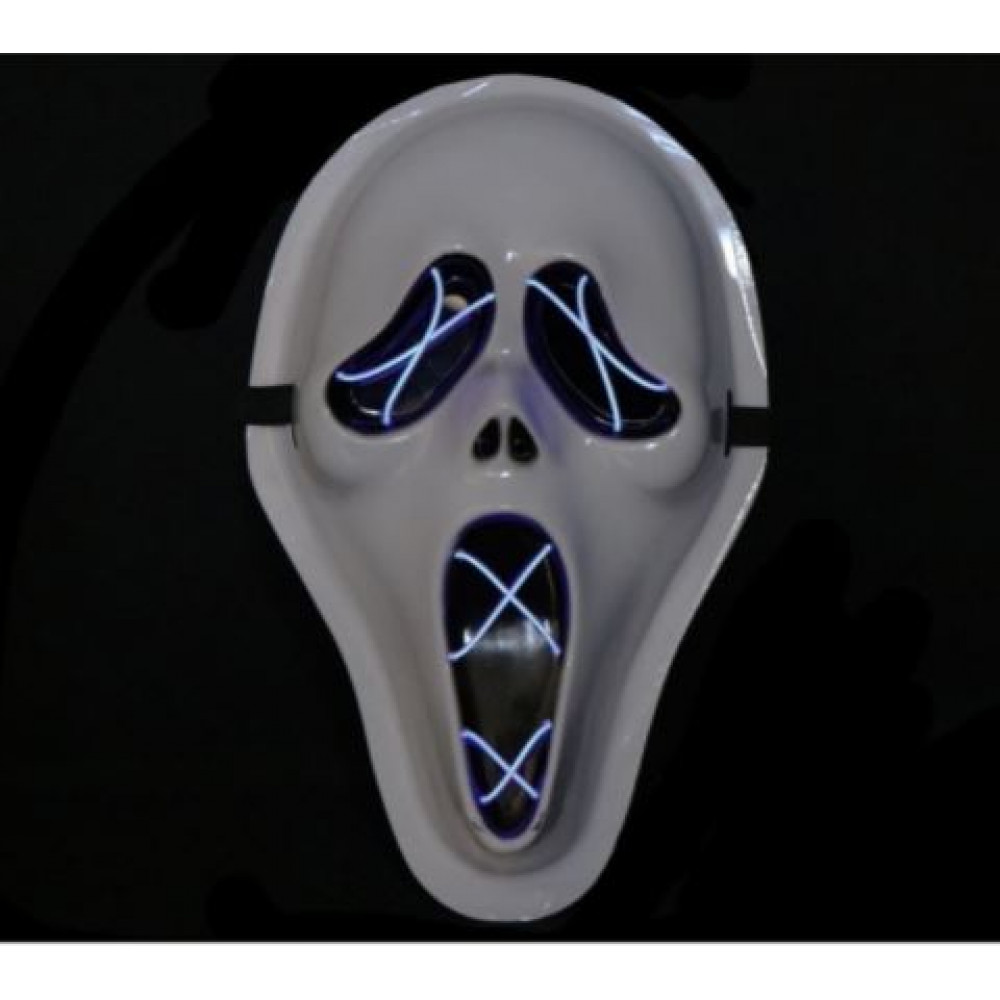 Glowing LED El Wire Scream mask for parties, carnivals, stag parties, hen parties, children's parties, costume balls