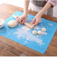 Confectionery silicone mat for easy rolling of dough, baking with centimeters