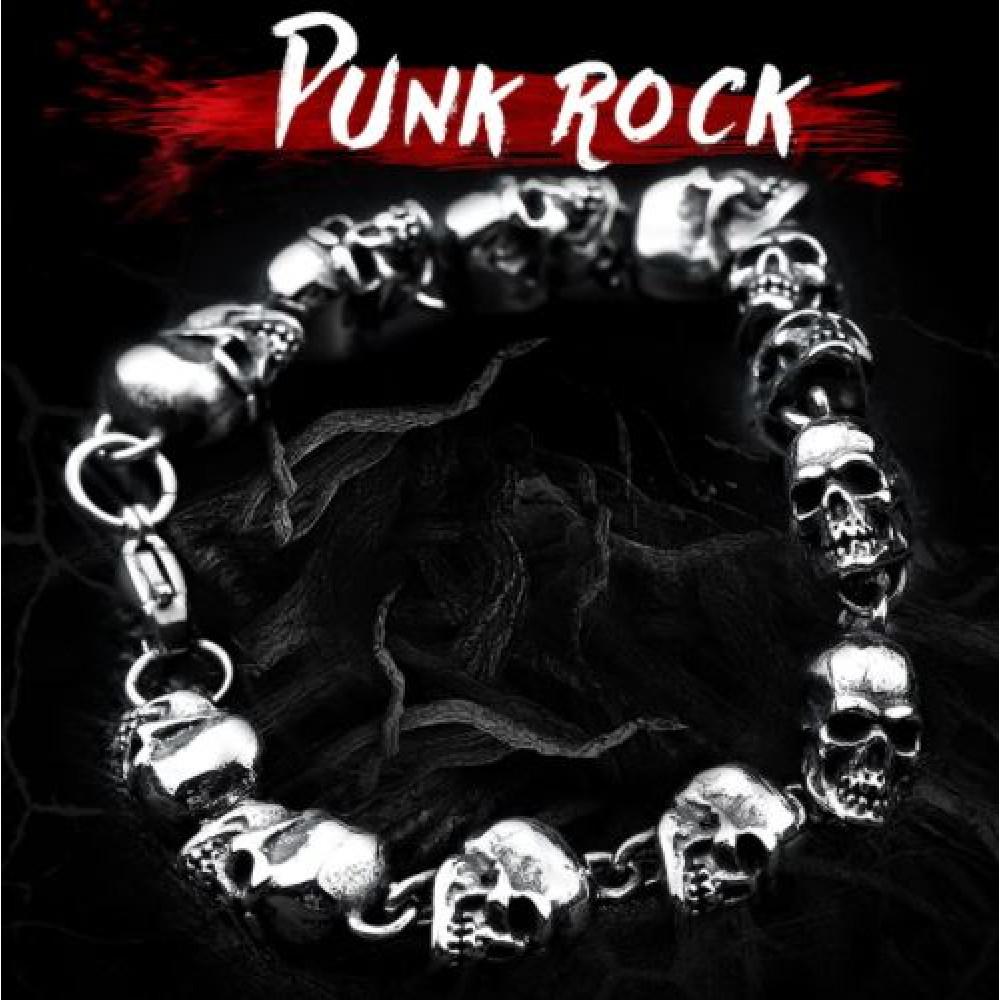 Bracelet with skulls in steel for bikers, metalists, punks, gots