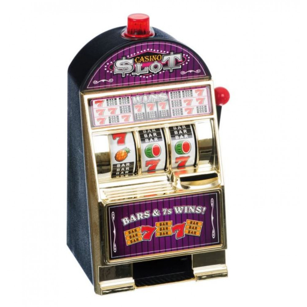Real tabletop slot machine, one-armed bandit interactive pocket game machine with sounds and light