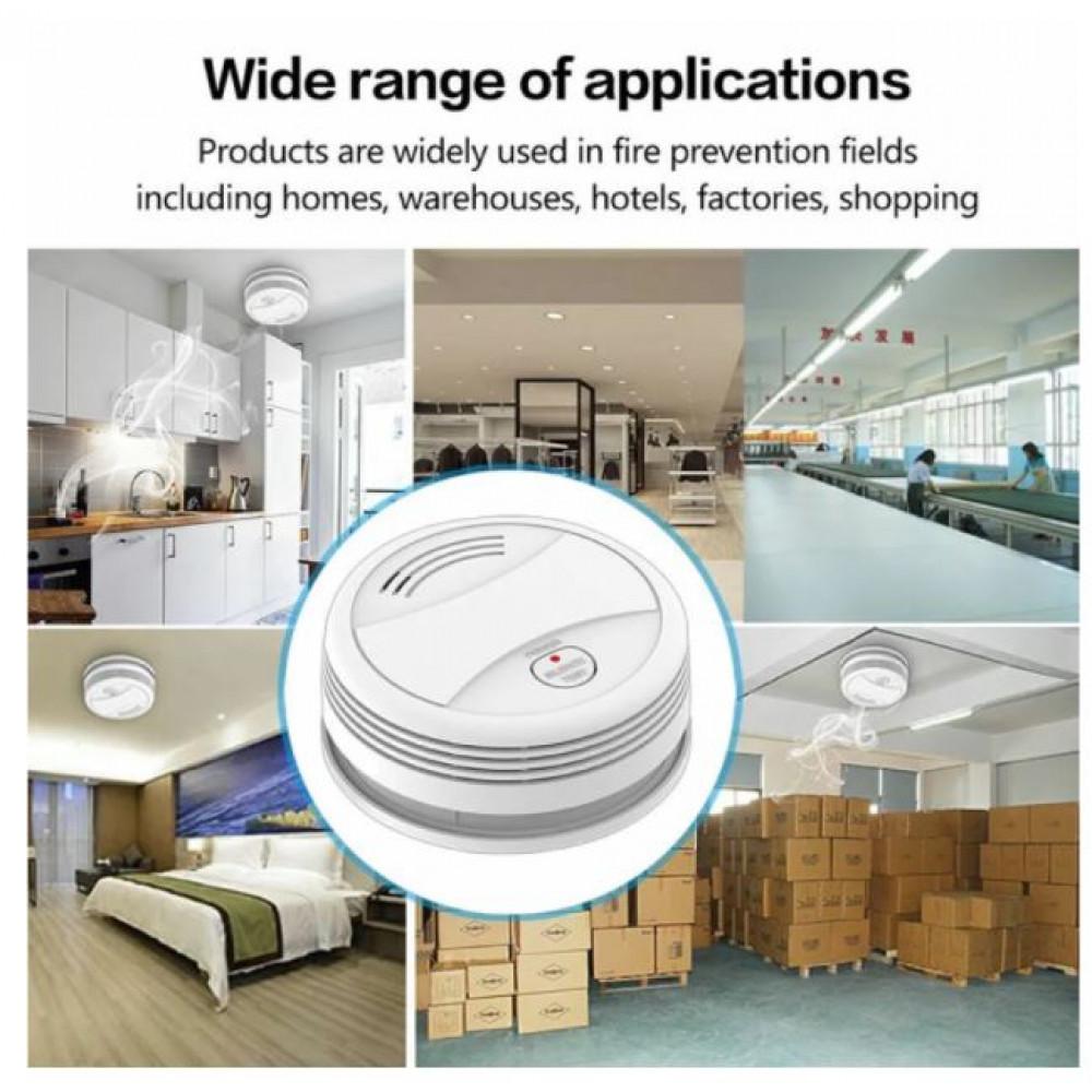 Smart Interactive Smoke Detector Smoke Sensor Fire Alarm Tuya Smart Wi Fi Phone Control