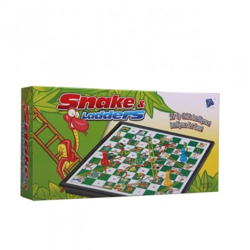 Classic compact magnetic board game with simple rules - Snakes and Ladders