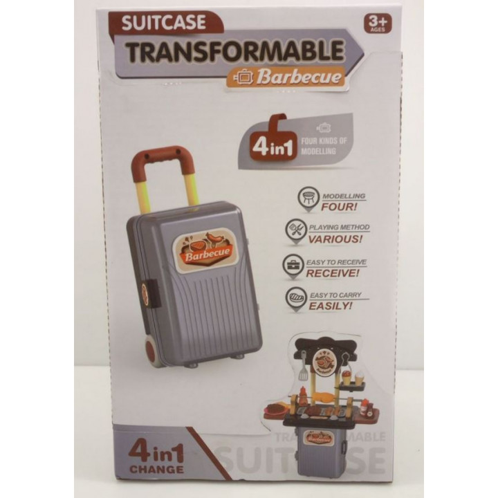 Children's play kitchen Suitcase Transformable Barbecue
