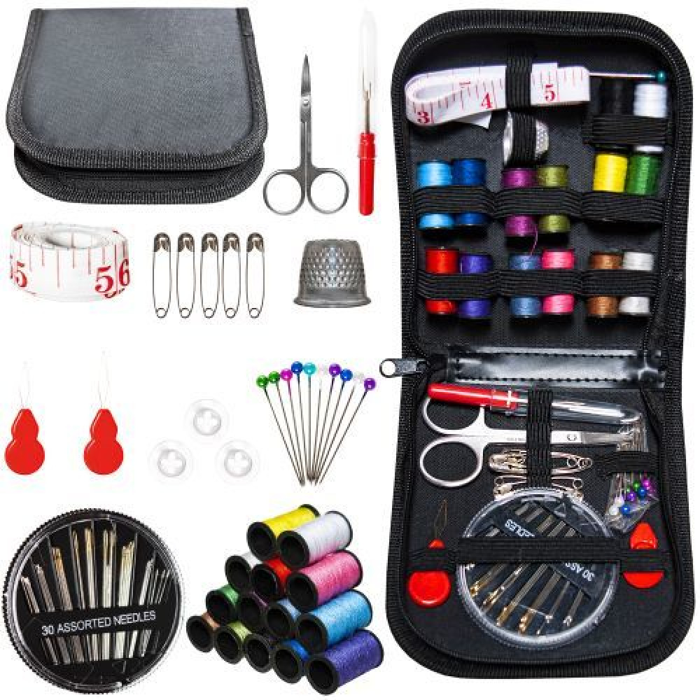Hiking compact touring kit for sewing and mending clothes, 70 items