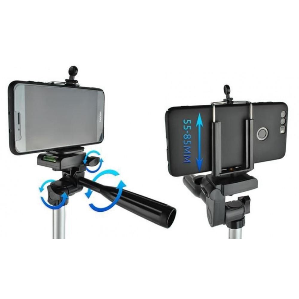 Adjustable selfie tripod holder for smartphone, camera, camcorder, 45 - 133 cm, with phone holder, case