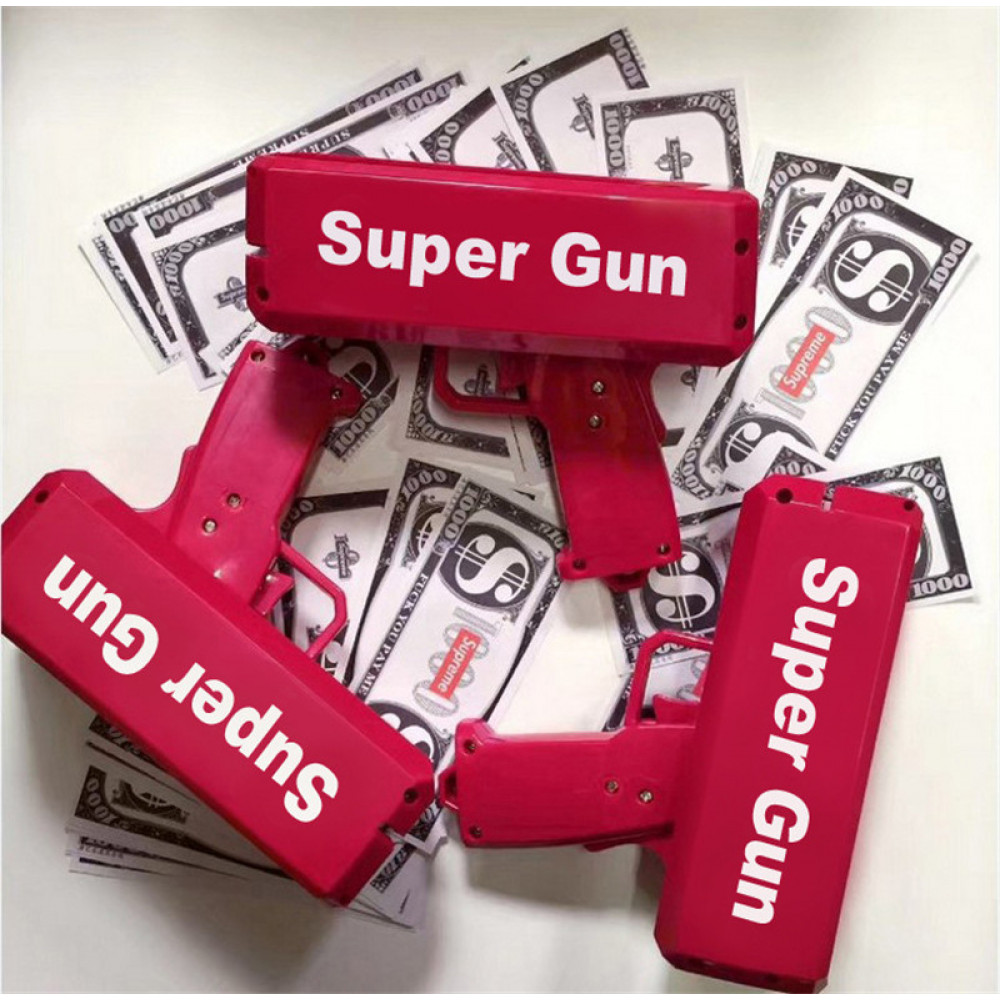Gun shooting money - for parties, holidays, fun