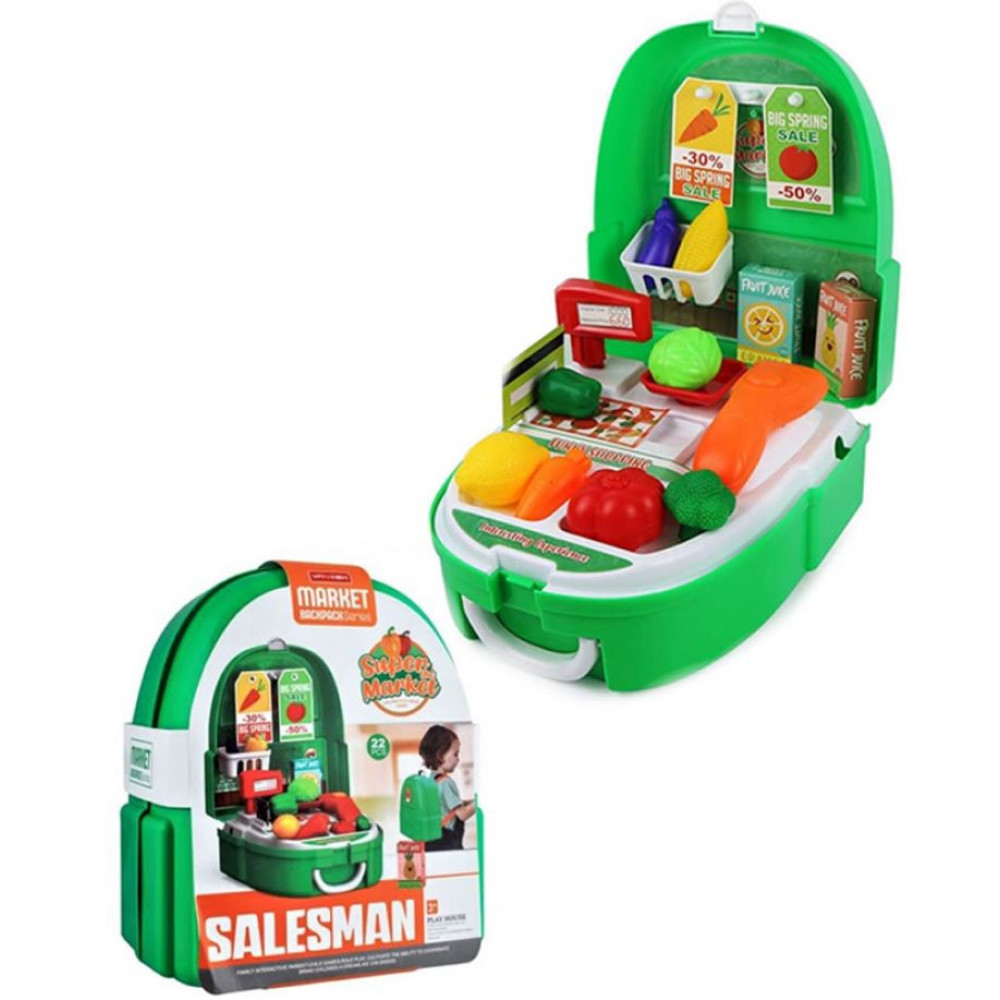Supermarket playset, a set of a young shop assistant, with a scanner and a cash register included