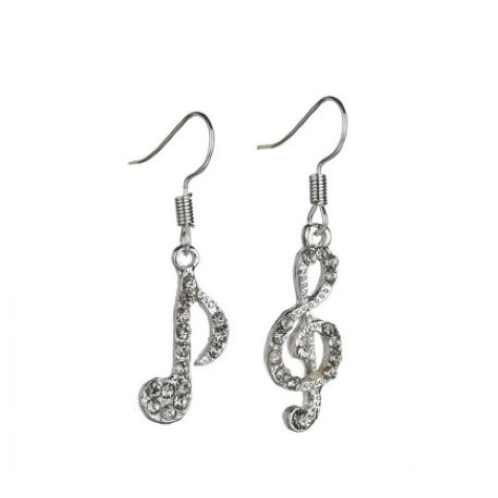 Gift for a woman, stylish musical treble clef earrings and notes with rhinestones