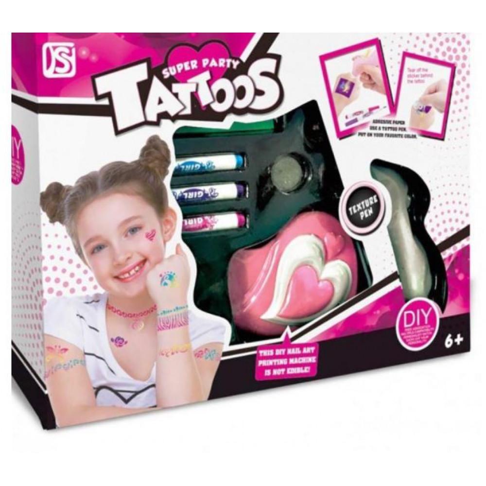 Super Party Tattoos Kids Temporary Tattoo Kit