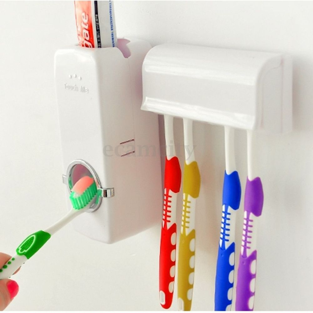 Automatic toothpaste dispenser and holder for 5 toothbrushes