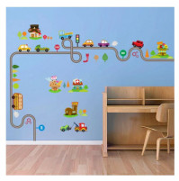 3D sticker decor for a children's room - a track with cars