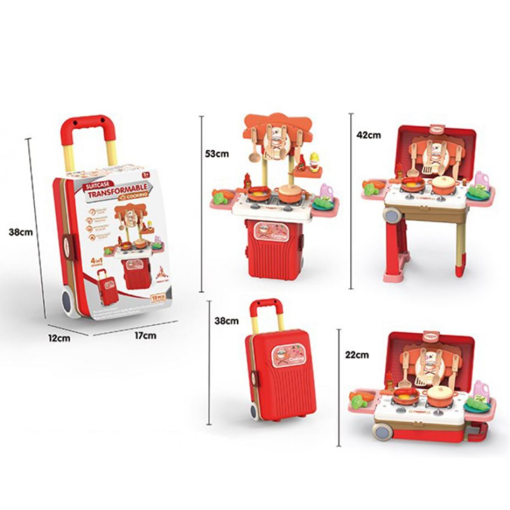 Children's play kitchen in a suitcase – stall on wheels